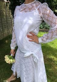 Pronuptia Wedding Dresses 1920s Style Vintage Lace Wedding Dress White 1980s Drop Waisted