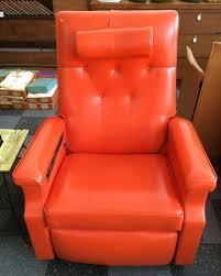 vintage niagara orange leather recliner chair with adjustable head