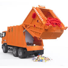 bruder toys logo amazon com bruder scania r series garbage truck orange toys