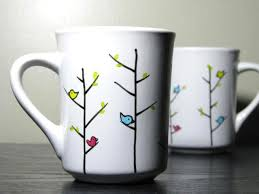 Pottery Vase Painting Ideas Hand Painted Mugs Colorful Birds Set Of 2 By Prettymydrink On Etsy