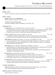 objective for an internship resume resume sle for communications broadcasting media intern the