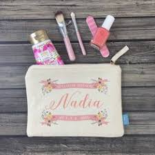 bridal party makeup bags floral deer personalized makeup bag wedding day makeup bag