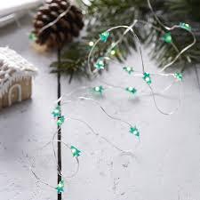 festive mini tree shaped string lights rustic
