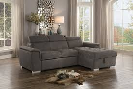 Pull Out Bed Sofa Ferriday Modern Style Taupe Polyester Fabric Sectional Pull Out