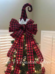 buffalo plaid elf tree bow christmas tree topper bow whimsical