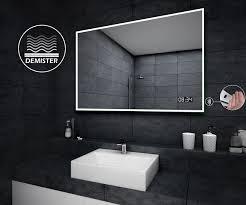 Bathroom Demister Mirror Led Illuminated Bathroom Mirror L49 Sensor Switch Led Clock