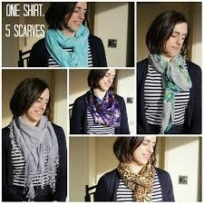 one shirt five scarves loop looks