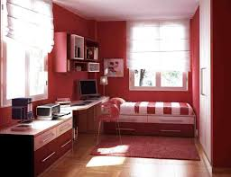 bedroom calming bedroom red coverbed armchair white curtain