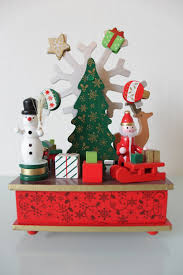 christmas music box with moving parts santa u0026 snowman christmas