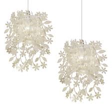 White Shabby Chic Ceiling Fan by Pair Of Modern Cream Shabby Chic Ceiling Light Shades Chandeliers