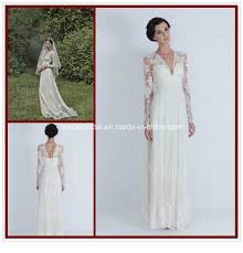 china lace long sleeve bridal gowns a line v neck beach wedding