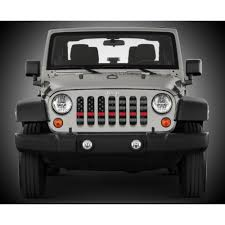 jeep american flag under the sun distressed thin red line wrangler jk grille insert
