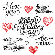 Valentine Day Quote Valentine Day Lettering Set Romantic Quotes I Love You Happy