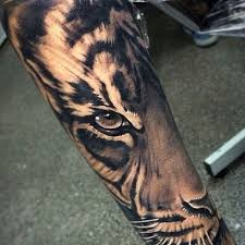 realistic tiger forearm tattoo
