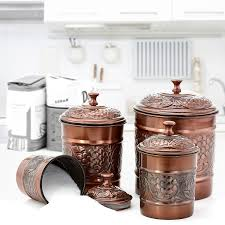 copper kitchen canisters amazon com old dutch antique embossed heritage canister set 4
