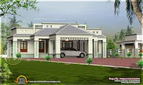 single floor home with center car porch indian house plans
