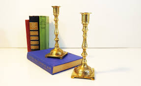 Vintage Home Decorations 2 Vintage Brass Candlesticks Matching Pair Of Brass Candle