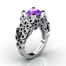 black and purple engagement rings amethyst rings cushion cut amethyst and d amethyst