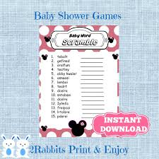 minnie mouse baby shower word scramble with answers disney