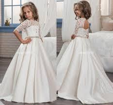 holy communion dress 2018 custom princess half sleeve holy lace white communion dress