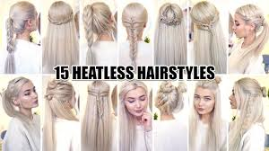 15 braided back to heatless hairstyles youtube