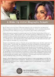 top makeup artist school artist bio exle bio exle