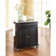 wood kitchen island cart portable stainless steel top kitchen island wood black crosley