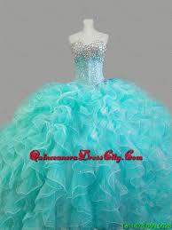 summer elegant beaded sweetheart quinceanera dresses in aqua blue