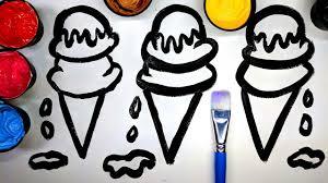 how to draw ice cream with paint painting ice cream coloring
