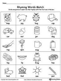 printable rhyming words connect rhyming pictures with words ending in et en ub it or op