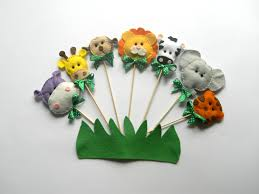 set 7 safari jungle animals cake topper cupcake topper