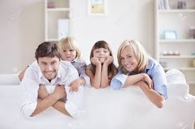 Kids Room Couch by A Happy Family With Kids On The Couch Stock Photo Picture And