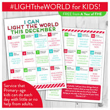 free download lds light the world service calendar for kids