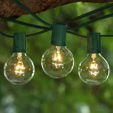 c9 incandescent light strings 100 ft green c9 string light with g50 clear bulbs