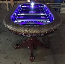 dallas cowboys poker table with focused led lights poker tables