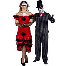couples day of the dead fancy dress senor senorita skeleton