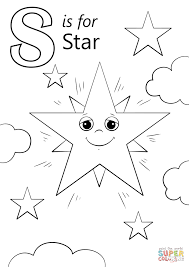 letter s is for star coloring page printable pages click