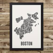 Boston Neighborhoods Map by Boston Neighborhood Typography City Map Print U2013 Flying Junction Co