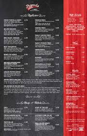 legends lounge u0026 grill menu with prices 920 n 48th st lincoln