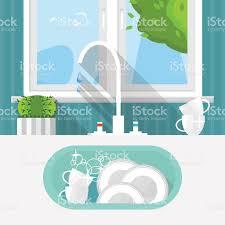 Kitchen Sink Clip Art Kitchen Sink With Clear Kitchenware Interior And Window Stock