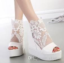 wedding shoes wedges summer silver white lace applique wedding shoes wedge sandal