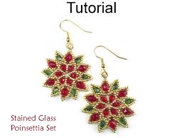 beaded poinsettia flower earrings christmas holiday beading