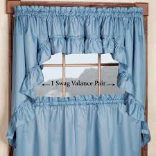 Blue Swag Valance Stacey Solid Color Tier Window Treatment