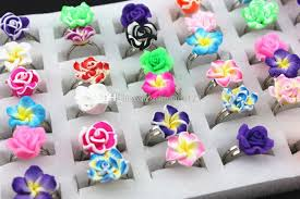 flowers and fruits new fashion mix styles polymer clay flowers fruits rings fimo