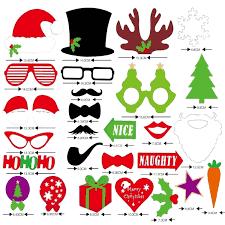 27pcs christmas santa hat party masks photo booth props mustache