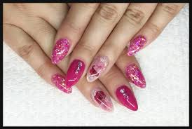 acrylic nails pink lover dried flowers youtube