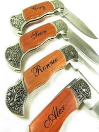 Knives For Groomsmen Personalized Heavy Duty Burl Wood Stainless Steel Titanium Coated