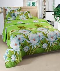 vertex good looking multicolour 3d floral double bed sheets with 4