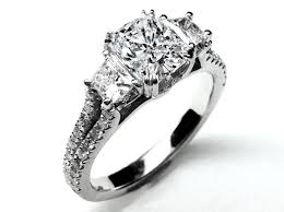 Diamond Cushion Cut Ring Engagement Ring Three Stone Cushion Cut Diamond Vintage Style
