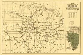 Chicago Railroad Map by Old Railroad Map Chicago Railroads 1850